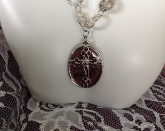 CROSS PENDANT Necklace - Have FAITH In Yourself Cross Pendant