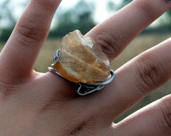 Champagne electroplated rough crystal ring with chunky wire wrapped design , all sizes