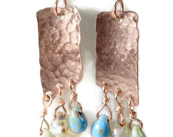 Hammered Copper Anticlastic Earrings 1