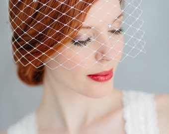 "Wedding Fascinator Birdcage - ""June-crystal"""