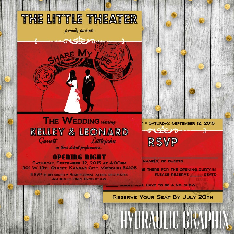 Theater wedding playbill wedding invitation african american zoom stopboris Images