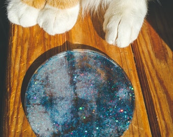 Eco-Resin galaxy coaster, Orgone Charging Plate Disk, Orgonite®