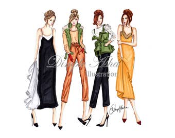 Fashion Illustration Print,Marissa Webb,fashion print,fashion wall art,fashion art,fashion poster,desk art,chic prints,fashion gift
