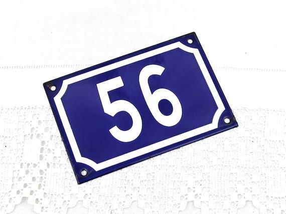 Vintage Traditional French Blue and Black White Metal Number Plaque 56, Vintage Porcelain House Street Enameled Address sign