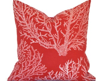 Outdoor Pillows ANY SIZE Outdoor Cushions Outdoor Pillow Covers Decorative Pillows Outdoor Cushion Covers Euro Pillow Sea Coral Red