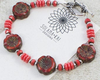Coral Red Flower Bracelet For Women |  Coral Red Bracelet | Flower Bracelet For Her | Flower Jewelry For Women | OOAK | Solana Kai Designs