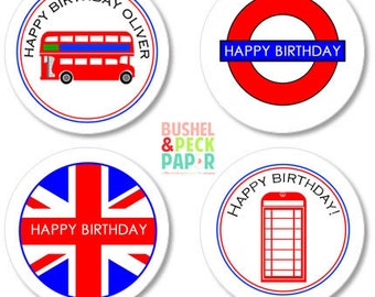 """Assorted London #Stickers - Set of 24 - 2"""" Round"""
