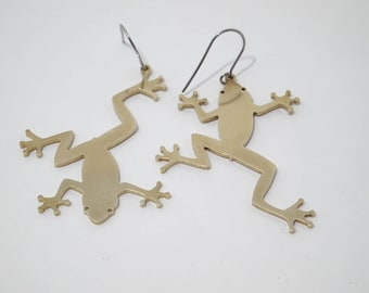 Frog Solid Brass Earrings