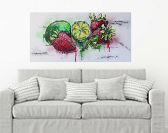 MEDArts Original Palette knife painting Impasto Still Life fruits Strawberry and Limes texture colorful Red Green White Modern