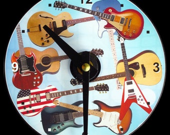 """New GUITARS Wall CLOCK - CD Size 4.75"""" diameter. Nice gift for guitarists! Guitar Player. Electric & Acoustic. Musicians. Rock Blues Country"""