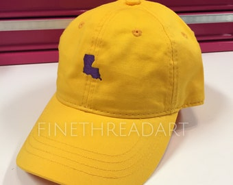 Ready to Ship Louisiana LA Adult Baseball Hat Cap Purple and Gold Yellow Unisex or Ladies Women