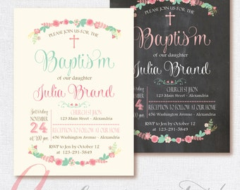 Baptism Invitation. Pastel colors, mint and pink, floral invite. Printable & personalized. Chalkboard invitation. Chalkboard Baptism invite