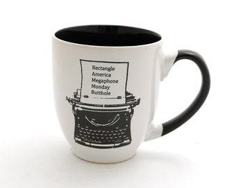 Ron Swanson mug, typewriter, Parks and Recreation, large 16 oz mug, Parks and Rec, every word I know
