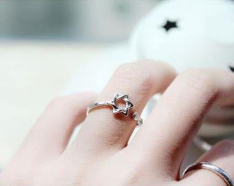 hexagram ring, adjustable ring, open-ended ring, birthday gift