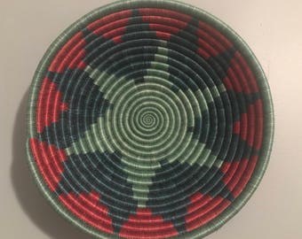 Teal and red Handwoven Peace Basket
