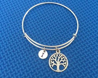 Tree of Life Bracelet initial bracelet, Jewelry,Tree of LifeCharm Bracelet,,Tree of Life bracelet Stack Bangle CP16