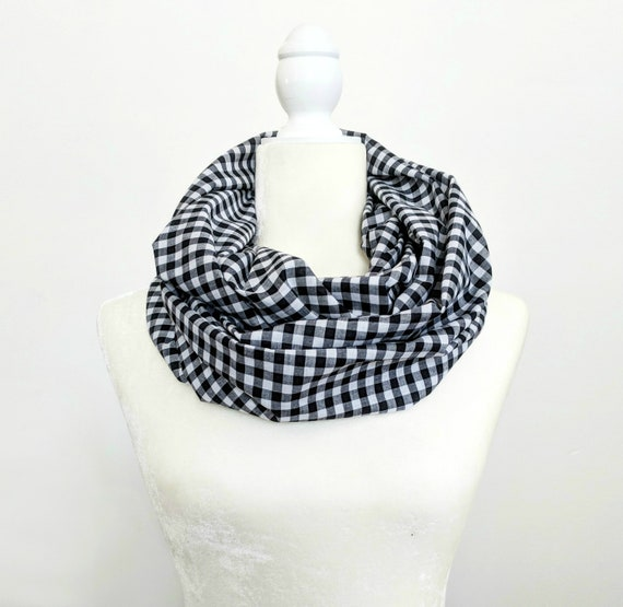 Black and White Gingham Infinity Scarf