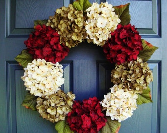 Beautiful Hydrangea Wreath | Summer Wreath | Front Door Wreaths | Door Wreaths | Fall Wreath | Wreaths for Door | Holiday Wreaths