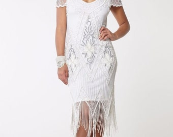 Fringe /Flapper Dress/ Cream / Great Gatsby /Vintage/Inspired/ 1920's/Hand Crafted/ Flapper Dress/Roaring 20's/ Prom/ Party/Cream