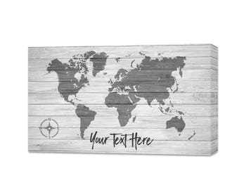 Personalized World Push Pin Travel Map - Push Pin Travel Map - Personalized World Map - Personalized Map - Canvas Map With Push Pins - Map