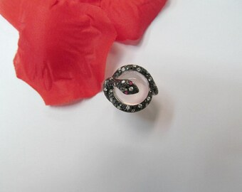 Statement Rose Quartz and Diamond Snake Ring