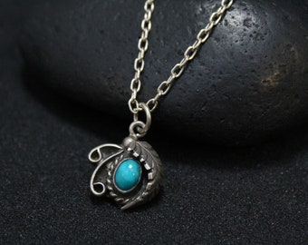 Sterling Silver Old Pawn Native American Turquoise Necklace, Navajo Turquoise Pendant, Sterling Turquoise Pendant, Old Pawn Necklace