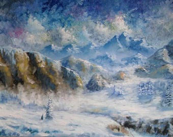 Original peinture 50 x 100 cm huile sur toile «montagne ''