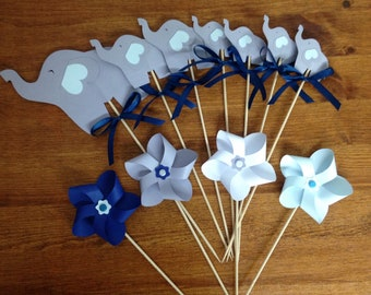 Set of cake topper elephants + windmills - customizable in color