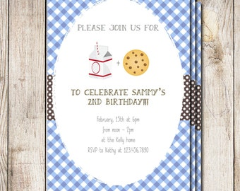 Milk and cookies shower invitation, milk and cookies baby shower, printable party invitation, gender neutral birthday, its a boy sip and see