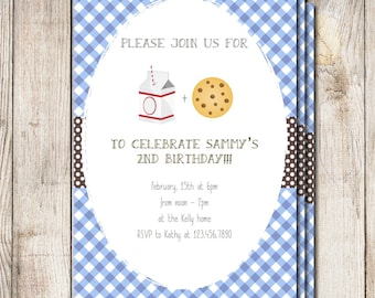 Milk and cookies birthday party, baby shower invitation, milk and cookies party invitations, milk and cookies baby shower, sip and see party