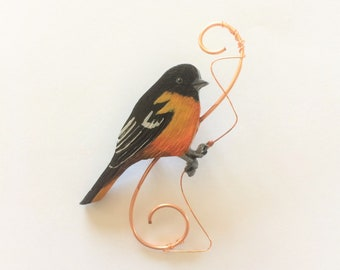 Beautiful Baltimore Oriole Brooch/ Handcrafted Pin