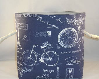 Fabric Basket With Handles in Navy French Paris Inspired Fabric