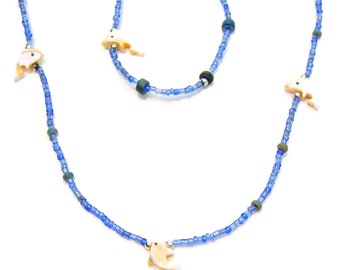 Necklace Bracelet Sets 12-24-48 PC LOTS Mother of Pearl Sea Shell Dolphins Fetishes on Seed Beads 7054