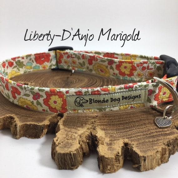 Liberty Dog Collar, or, Liberty Dog Lead, D'Anjo Marigold, Floral Dog Collar, Pretty Dog Collar, Dog Collar UK
