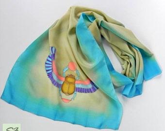 Silk Scarf Scarab Blue Beige Hand Painted, Unique Gift Birthday, Wearable art, Gift Her Wife Girlfriend, Batik, Women Fashion Scarves
