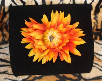 Orange Flower with Pumpkin Hairclip Halloween Pinup Burlesque