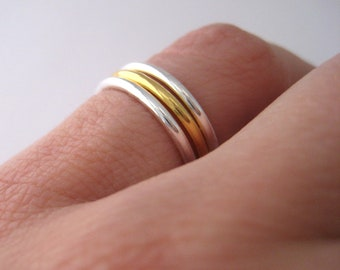 Rings knuckle rings finger set of three Silver 925/000e and gold plated