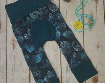 Maxaloones Blue Hearts Grow With Me Pants Toddler Pants Cloth Diaper Baby Leggings