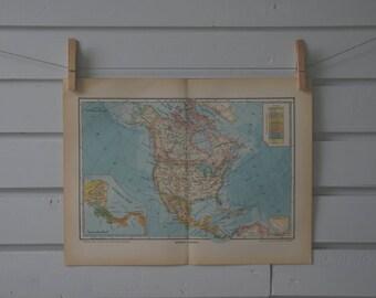 1937 Vintage North America Map