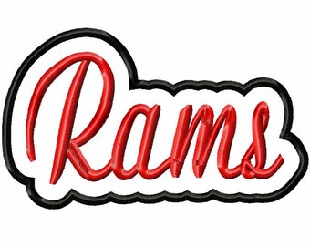 Rams Script with Shadow Applique Embroidery Machine Design 11013