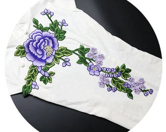 Big Flower Patch, Purple Flower Appliques, Embroidered Plants Patches