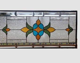 Victorian beveled stained glass panel window hanging amber blue olive clear stained glass window panel window transom 0340 23 1/2 x 11 1/2