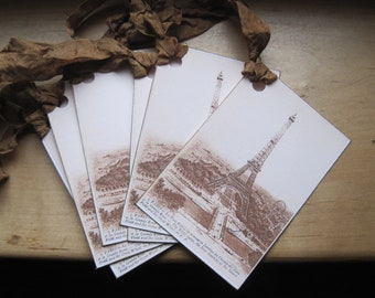 french market eiffel tower tags set of 6