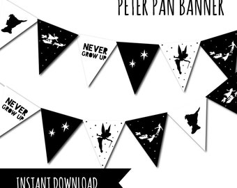 Peter Pan, Peter Pan Birthday, Neverland Party, Peter Pan Party, Neverland Birthday, Never Grow up, Neverland Digital, Birthday Party Banner