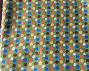Green Polka Dot Flannel Fabric