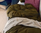 Olive Green stonewashed linen bedding: duvet/quilt/doona cover and x2 pillowcases. Pure linen bedding