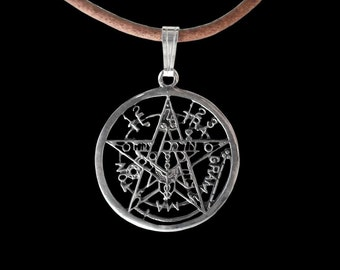 Tetragrammaton Pendant - Sterling Silver Esoteric Pentagram Pendant (small) - Tetragrammaton Name of God - Leather Necklace