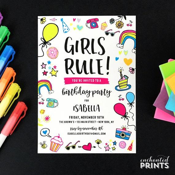 girls rule birthday party invitation