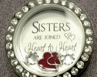 Sisters custom floating locket necklace, will add your favorite picture to the back!