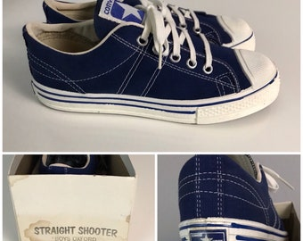 RARE Vintage NOS 1970s Converse Blue Label Straight Shooters Blue  Basketball Shoes / Boys 3.5 /